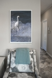 "Snowy Egret in Wave canvas 24""x36"" in white frame (image #1922)"