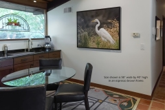 "Great Egret canvas 50"" x 40"" in espresso brown frame (image #8223)"